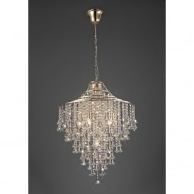 Inina 7 Light French Gold Ceiling Pendant with Clear Crystal