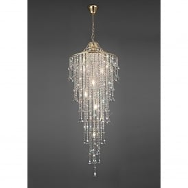 Inina 7 Light Long Line French Gold Ceiling Pendant with Clear Crystal