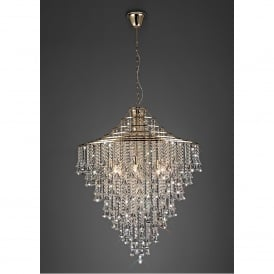 Inina 9 Light French Gold Ceiling Pendant with Clear Crystal