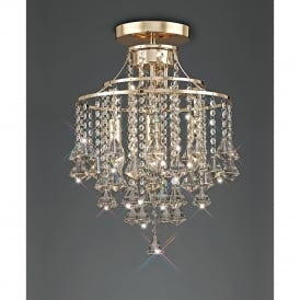 Inina Semi-Flush 4 Light French Gold Ceiling Fixture with Clear Crystal