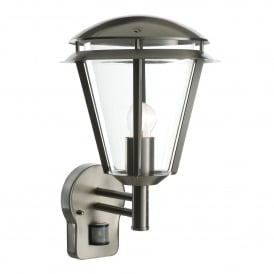 Inova Single Light Outdoor PIR Wall Fitting in Brushed Stainless Steel and Clear Acrylic