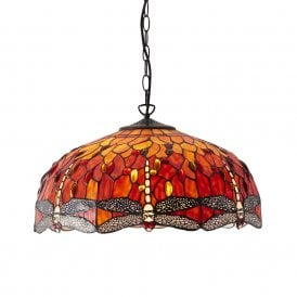 64082 Flame Dragonfly Large 3 Light Ceiling Pendant with Classic Tiffany Design