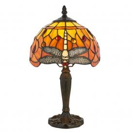 64091 Flame Dragonfly Single Light Mini Table Lamp with a Classic Tiffany Design