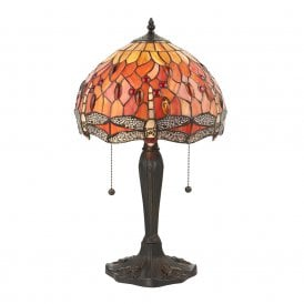 64092 Flame Dragonfly Medium 2 Light Table Lamp with Classic Tiffany Design
