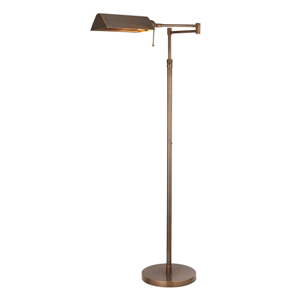 Interiors 1900 72977 Clarendon Single Led Light Task Floor Lamp Made From Solid Brass In Antique Patina Finish