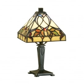 Alcea Single Light Tiffany Mini Table Lamp with a Dark Bronze Finish