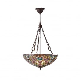 Anderson 3 Light Inverted Tiffany Ceiling Pendant in a Dark Bronze Finish