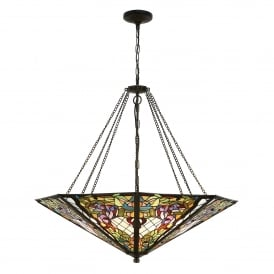 Anderson 8 Light Tiffany Ceiling Pendant in a Dark Bronze Finish