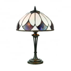 Aragon 2 Light Small Table Lamp In Bronze Finish With Tiffany Art Deco Shade