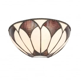 Aragon Single Light Wall Fitting In Bronze Finish With Tiffany Art Deco Shade