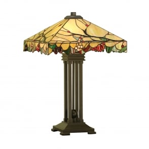 Arbois 2 Light Table Lamp In Bronze Finish With Tiffany Glass Shade