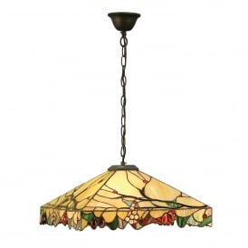 Arbois Single Light Ceiling Pendant In Bronze Finish With Tiffany Glass Shade