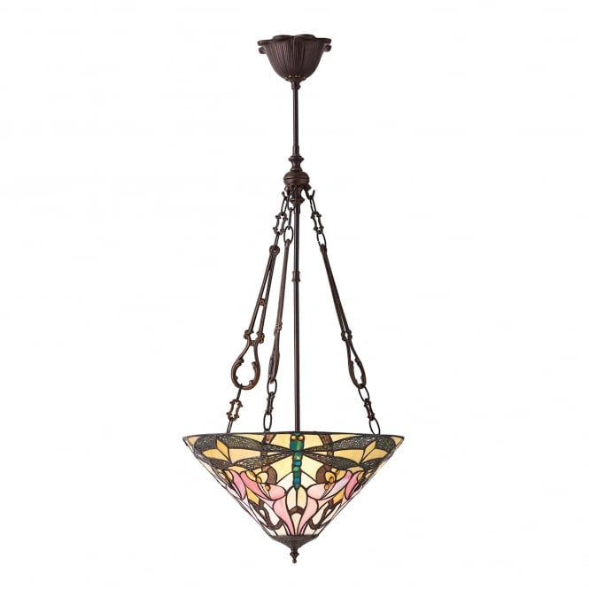 Interiors 1900 Ashton 3 Light Tiffany Ceiling Pendant with Calla Lillies and Dragonflies