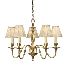 Asquith 5 Light Solid Brass Ceiling Pendant In A Mellow Brass Finish With Beige Pleated Shades