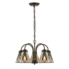 Astoria 5 Light Ceiling Downlight Pendant In Dark Bronze Finish With Tiffany Art Deco Shades