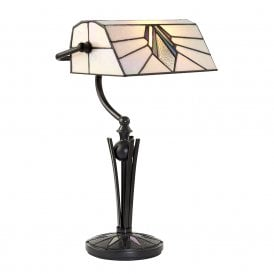 Astoria Single Light Tiffany Bankers Lamp with Art Deco Design and Black Stem