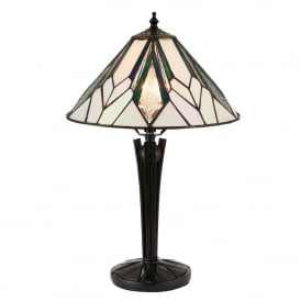 Astoria Single Light Tiffany Table Lamp with Art Deco Design and Black Stem