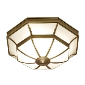 Balfour 4 Light Flush Ceiling Fitting In Antique Brass Finish With Frosted Glass