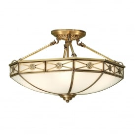 Bannerman 4 Light Semi Flush Ceiling Fitting In Antique Brass Finish With Frosted Glass Shade