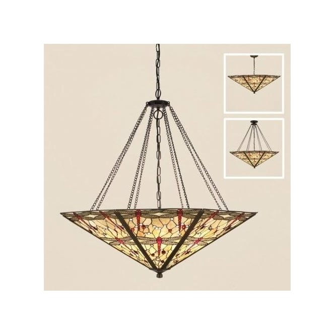 Interiors 1900 Beige Dragonfly 8 Light Tiffany Mega Pendant with Dark Bronze Finish