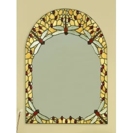 Beige Dragonfly Tiffany Style Large Wall Mirror