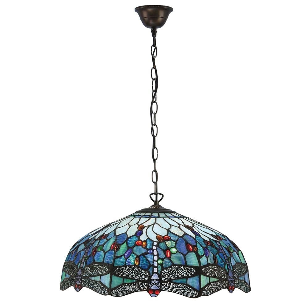 1900 blue dragonfly large tiffany 3 light ceiling pendant with a dark