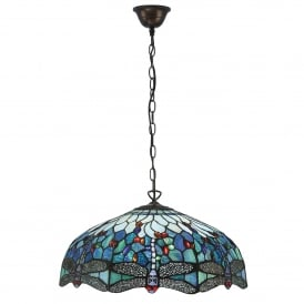 Blue Dragonfly Large Tiffany 3 Light Ceiling Pendant with a Dark Bronze Finish