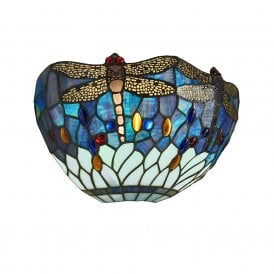 Blue Dragonfly Single Light Wall Fitting with a Classic Tiffany Design