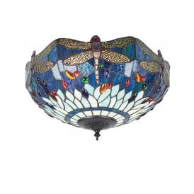 Blue Dragonfly Tiffany 2 Light Flush Ceiling Fitting with a Dark Bronze Finish