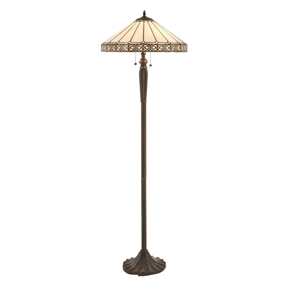 Interiors 1900 boleyn 2 light floor lamp in bronze finish with boleyn 2 light floor lamp in bronze finish with tiffany art deco shade aloadofball Image collections