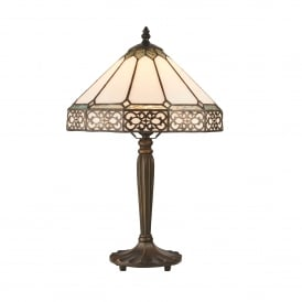 Boleyn Single Light Small Table Lamp In Bronze Finish With Tiffany Art Deco Shade