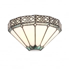 Boleyn Single Light Wall Fitting In Bronze Finish With Tiffany Art Deco Shade