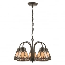 Brooklyn 5 Light Ceiling Downlight Pendant In Dark Bronze Finish With Tiffany Art Deco Shades