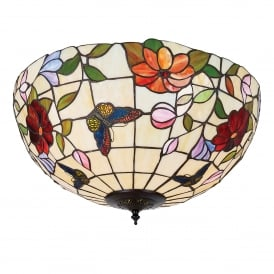 Butterfly 2 Light Large Tiffany Flush Ceiling Fitting with Floral Decoration