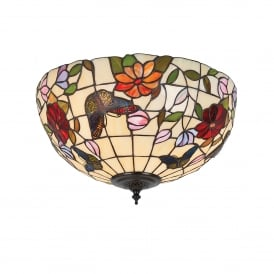 Butterfly 2 Light Medium Tiffany Flush Ceiling Fitting with Floral Decoration