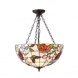 Butterfly Large 3 Light Inverted Tiffany Ceiling Pendant with Floral Decoration