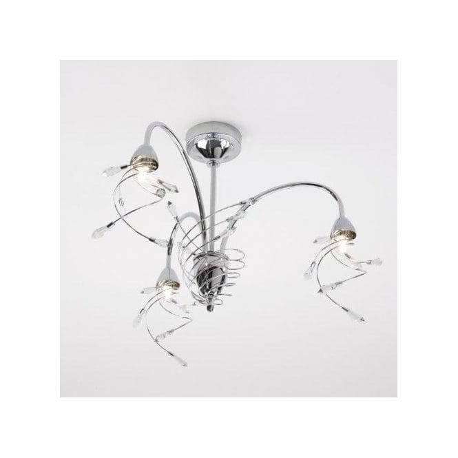Interiors 1900 Capella 3 Light Dual Mount Fitting in Nickel with Crystal Details