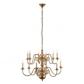 Chamberlain 12 Light Multi-Arm Ceiling Chandelier in Solid Brass Finish