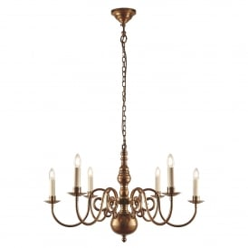 Chamberlain 6 Light Multi-Arm Ceiling Chandelier in Soft Mellow Brass Finish