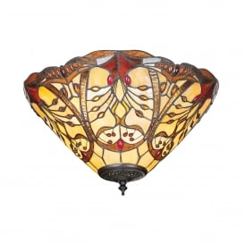 Chatelet 2 Light Flush Ceiling Fitting In Bronze Finish With Tiffany Glass Shade