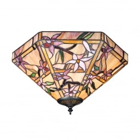 Clematis 2 Light Tiffany Glass Flush Ceiling Fitting In Bronze Finish