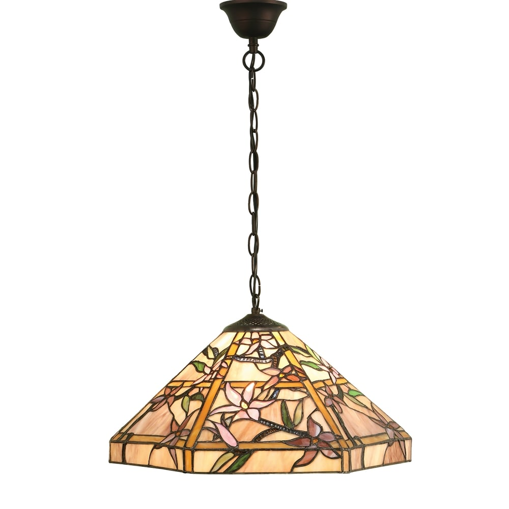 Interiors 1900 Clematis Single Light Tiffany Glass Ceiling