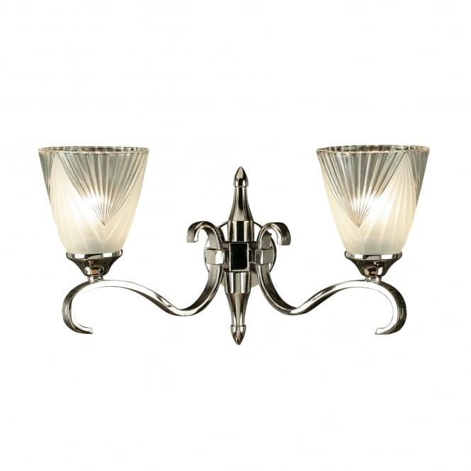 Interiors 1900 Columbia 2 Light Wall Fitting In Nickel Finish With Art Deco Style Glass