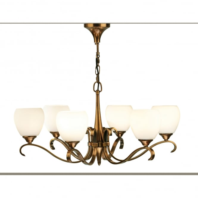 Interiors 1900 Columbia 6 Light Ceiling Fitting In Antique Brass Finish With White Opal Glass