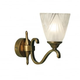 Columbia Single Light Antique Brass Wall Fitting with Art Deco Style Glass Shade
