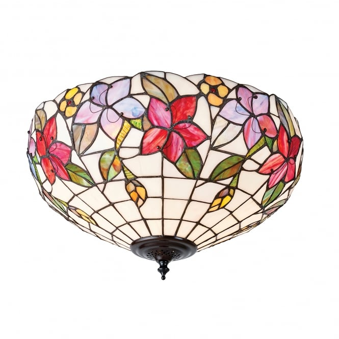 Interiors 1900 Country Border 2 Light Tiffany Flush Ceiling Fitting with a Floral Design