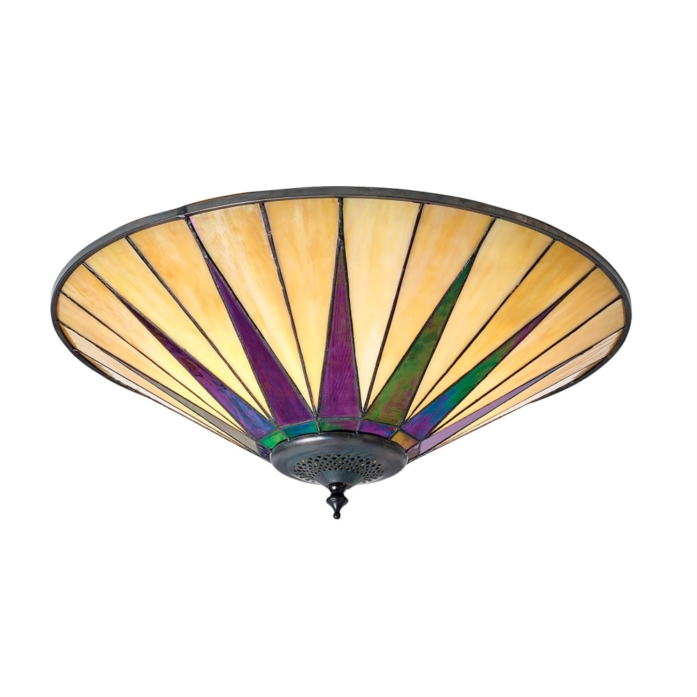Interiors 1900 Dark Star 2 Light Flush Ceiling Fixture With Tiffany Design