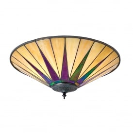 Dark Star 2 Light Flush Ceiling Fixture with Tiffany Design