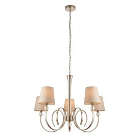Fabia 5 Light Ceiling Chandelier in Polished Nickel Finish Complete with Marble Silk Shades