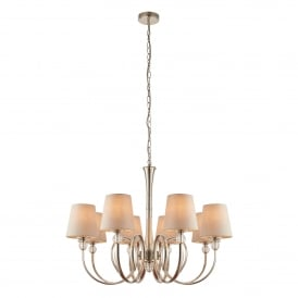 Fabia 8 Light Ceiling Chandelier in Polished Nickel Finish Complete with Marble Silk Shades